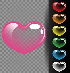 Colorful heart translucent on black background for vector