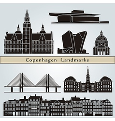 Copenhagen landmarks and monuments vector image
