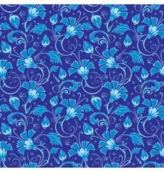 Dark blue turkish floral seamless pattern vector
