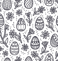 Decorative easter doodle eggs seamless pattern vector