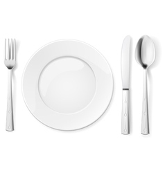 Empty plate with spoon knife and fork vector image vector image