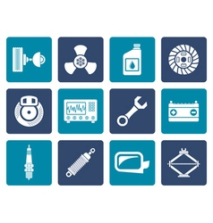 Flat car parts and services icons vector