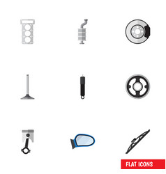 Flat icon parts set of metal car segment vector