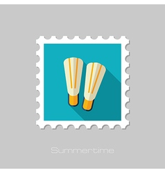 Flippers flat stamp summer vacation vector