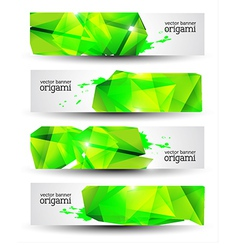 Geometrical Origami Banner Set vector image