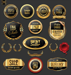 Golden badges and labels with laurel wreath vector