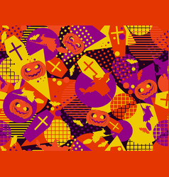 halloween memphis seamless pattern festive vector image vector image