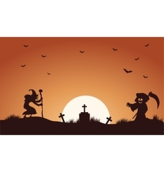 Halloween warlock and witch silhouette vector image vector image