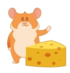 Hamster and a piece of cheese vector