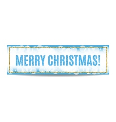 Merry christmas banner golden frame and snowflakes vector