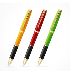 Metal ball point pen set vector image