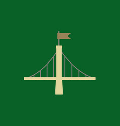 Metal bridge with flag vector