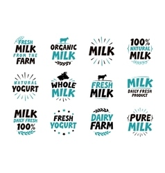 Milk set icons Food drink symbol Text vector image