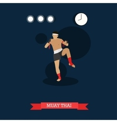 Muay thai fighter kicking flat design vector
