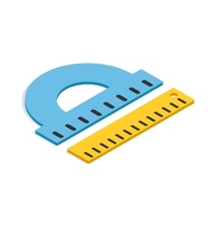 Protractor and ruler icon isometric 3d style vector