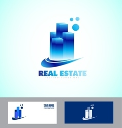 Real estate blue skyscraper logo vector