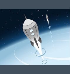 Rockets and space exploration scene vector