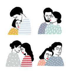 Set of couples in love portraits of loving guy vector