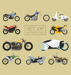 set of motorcycle icons retro and modern flat vector image vector image