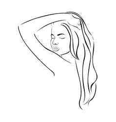 Sketch female half body sensual silhouette with vector