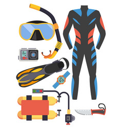 Snorkeling and scuba diving set of elements scuba vector