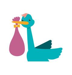 Stork carrying newborn cartoon infantile vector
