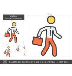 Walking businessman line icon vector