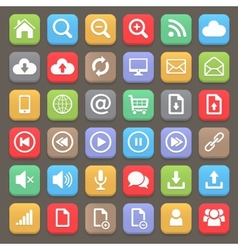 Web and internet flat icon set element vector image vector image