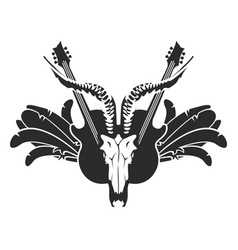 with guitar wings and skull vector image vector image