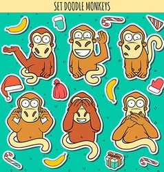 Year of red monkey Doodle set monkeys sticker vector image vector image