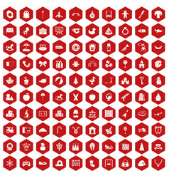 100 nursery school icons hexagon red vector