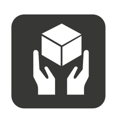 Hand and box delivery seal vector