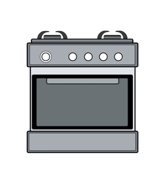 Symbol of gas stove color line art vector
