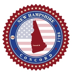 Label sticker cards of state new hampshire usa vector