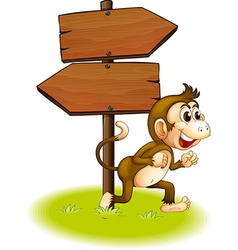 A monkey running beside the empty arrowboards vector image
