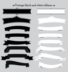 Vintage black and white ribbons vector