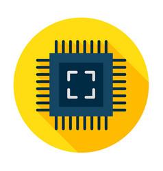Computer chip flat circle icon vector