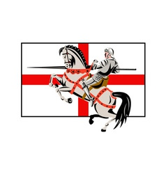 English knight lance horse england flag side retro vector