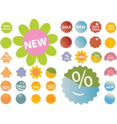20 cute pink green stickers vector image vector image