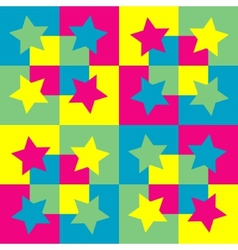 Pattern background with squares and stars vector image