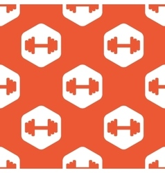 Orange hexagon barbell pattern vector