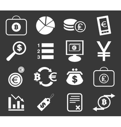Finance icon set 3 monochrome vector