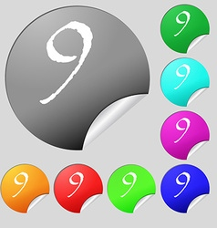 Number nine icon sign set of eight multi colored vector