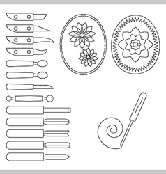 Knife and operating tool for carving vector image