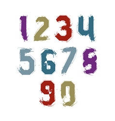 Bright hand painted daub numerals collection of vector