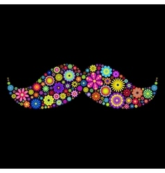 Floral moustache on black background vector