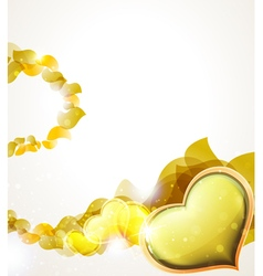 Valentine heart and yellow petals vector