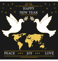 Happy new year peace joy and love greeting card ep vector