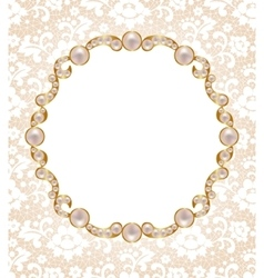 Card with pearl frame vector