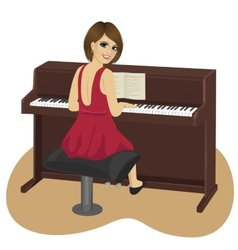 Young woman playing brown upright piano vector
